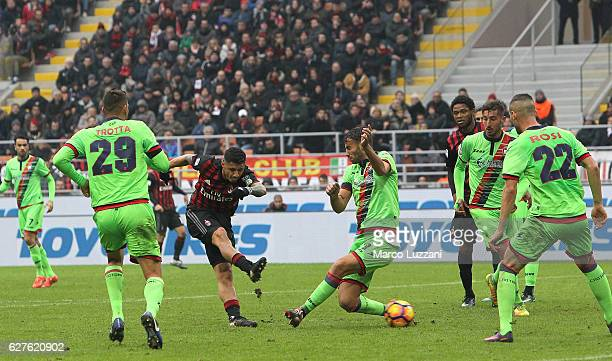Gianluca Lapadula of AC Milan scores his goal during the Serie A match between AC Milan and FC Crotone at Stadio Giuseppe Meazza on December 4 2016...