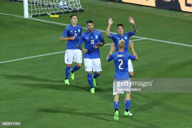 Gianluca Lapadula of Italy celebrates after scoring a goal during International Friendly between Italy and San Marino at Stadio Carlo Castellani on...