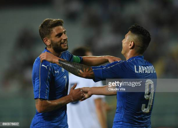 Gianluca Lapadula of Italy celebrates after scoring the fourth goal during the international friendy match played between Italy and San Marino at...