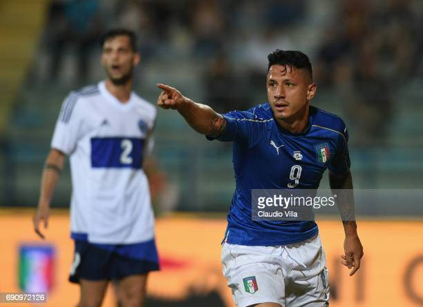Gianluca Lapadula of Italy celebrates after scoring the opening goal during the international friendy match played between Italy and San Marino at...