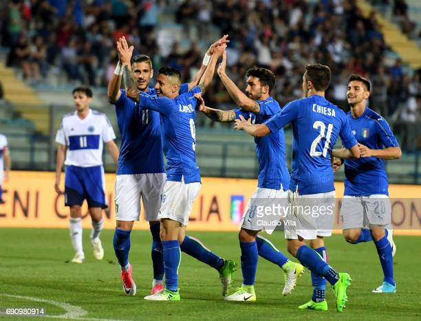Gianluca Lapadula of Italy celebrates after scoring the sixth goal during the international friendy match played between Italy and San Marino at...