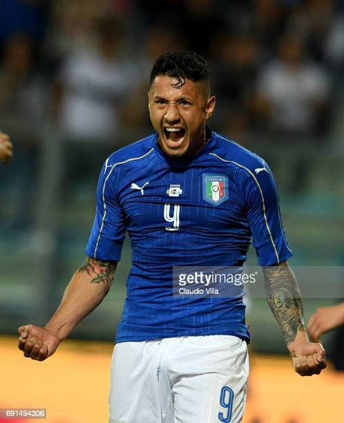 Gianluca Lapadula of Italy celebrates during the international friendy match played between Italy and San Marino at Stadio Carlo Castellani on May 31...