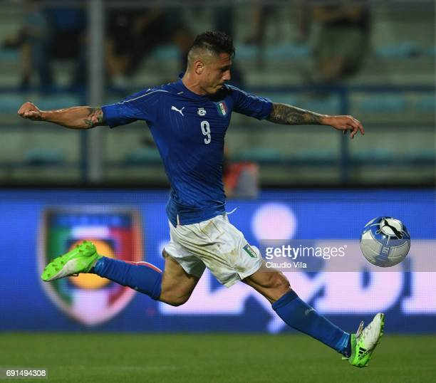 Gianluca Lapadula of Italy in action during the international friendy match played between Italy and San Marino at Stadio Carlo Castellani on May 31...