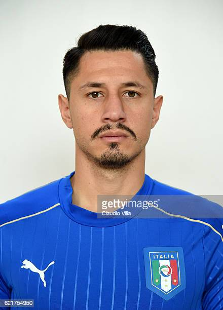 Gianluca Lapadula of Italy poses during the official portrait session prior to the training session at the club's training ground at Coverciano on...