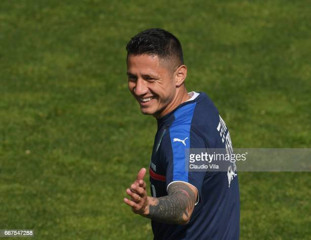 Gianluca Lapadula of Italy reacts during the training session at the club's training ground at Coverciano on April 12 2017 in Florence Italy