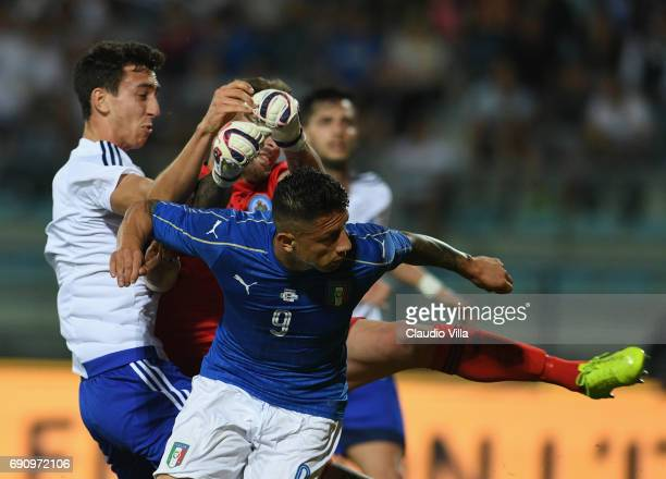 Gianluca Lapadula of Italy scores the opening goal during the international friendy match played between Italy and San Marino at Stadio Carlo...