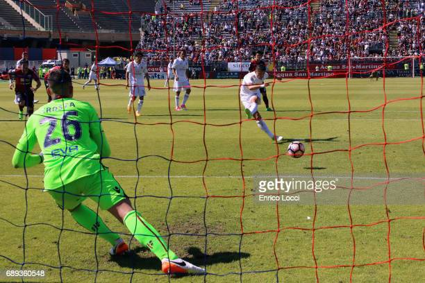 Gianluca Lapadula of Milan scored his goal 11 during the Serie A match between Cagliari Calcio and AC Milan at Stadio Sant'Elia on May 28 2017 in...