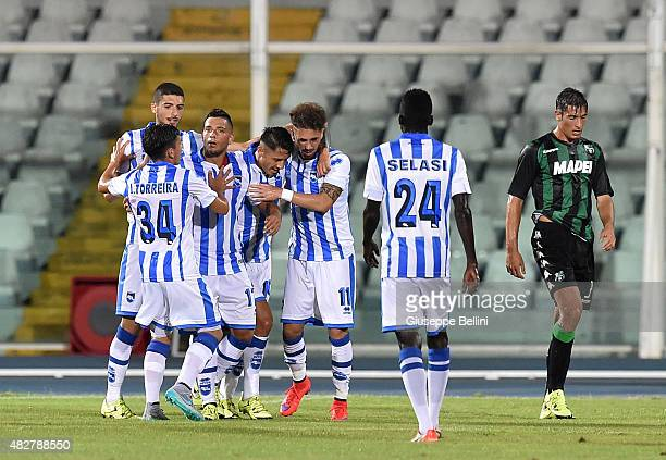 Gianluca Lapadula of Pescara celebrates after scoring the opening goal during the preseason friendly match between Pescara Calcio and US Sassuolo...