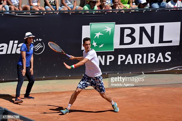 Gianluca Mager of Italy returns the ball to Marsel Ilhan of Turkey during their match at Foro Italico in Rome Italy on May 10 for entering the main...
