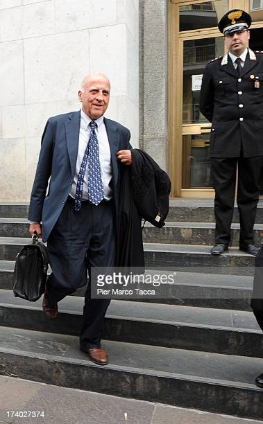 Gianluca Maris the defense lawyer of Lele Mora leaves the courthouse after the verdicts in the 'Ruby bis' case on July 19 2013 in Milan Italy Nicole...