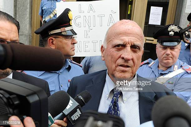 Gianluca Maris the defense lawyer of Lele Mora speaks with waiting media outside the courthouse after the verdicts in the 'Ruby bis' case on July 19...