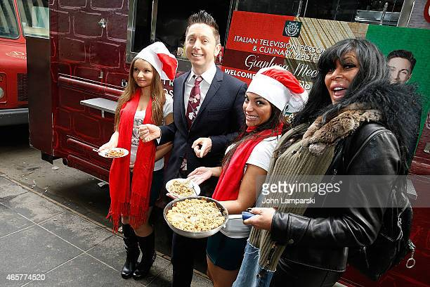 Gianluca Mech and Big Ang Raiola attends Italiano Diet Launch Event at Times Square on March 10 2015 in New York City