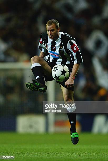 Gianluca Pessotto of Juventus takes control of the ball during the Champion's League Semi Final between Real Madrid and Juventus on May 6 2003 at the...
