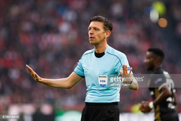 Gianluca Rocchi referee during the Uefa Europa League semi final first leg match between Ajax Amsterdam and Olympique Lyonnais at Amsterdam Arena on...