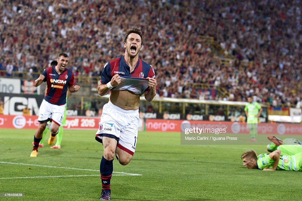 Gianluca Sansone of Bologna FC celebrates after scoring the opening goal during the Serie B playoff final match between Bologna FC and Pescara Calcio...
