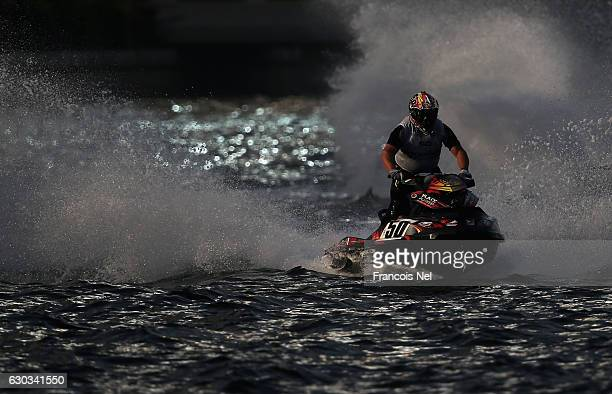 Gianluca Santi Amantini of Italy race in the Runabout GP1 final during the Aquabike Class Pro Circuit World Championships Grand Prix of Sharjah at...
