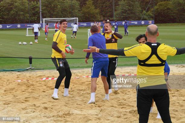 Gianluca Spinelli Marcin Bulka Willy Caballero Thibaut Courtois Eduardo of Chelsea playing volleyball during a training session at Chelsea Training...