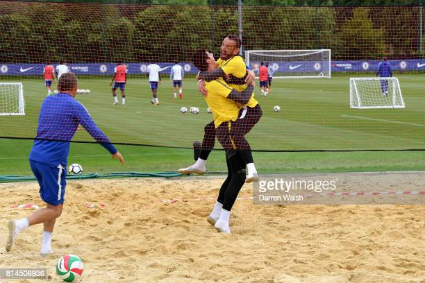 Gianluca Spinelli Thibaut Courtois Eduardo of Chelsea playing volleyball during a training session at Chelsea Training Ground on July 14 2017 in...