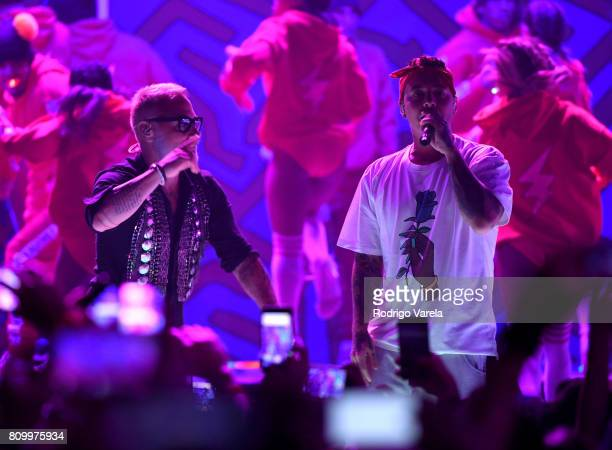 Gianluca Vacchi and J Balvin perform on stage during Univision's 'Premios Juventud' 2017 Celebrates The Hottest Musical Artists And Young Latinos...