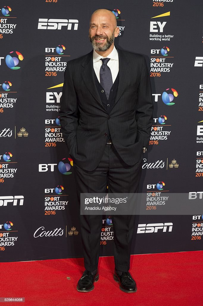 Gianluca Vialli attends the BT Sport Industry Awards 2016 in London, United Kingdom on April 28, 2016.