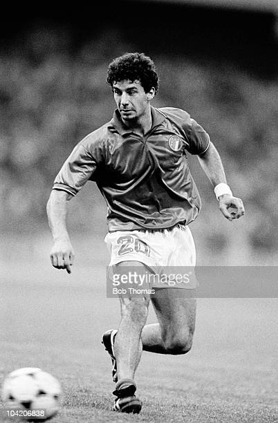Gianluca Vialli of Italy in action against Denmark during a European Championship match held at Mungersdorfer Stadion in Cologne on 17th June 1988...