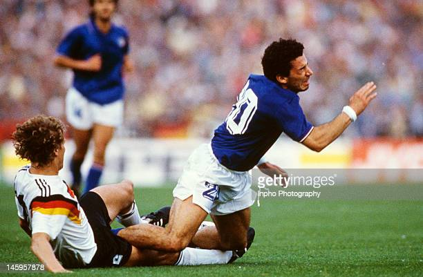 Gianluca Vialli of Italy tackles Guido Buchwald of West Germany during the UEFA European Championships 1988 Group 1 match between West Germany and...