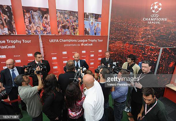 Gianluca Vialli talks to the press during the UEFA Champions League Trophy Tour 2012/13 on September 21 2012 in Turin Italy