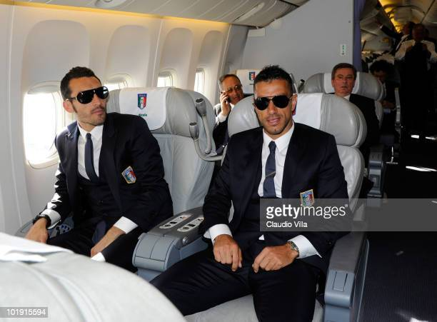 Gianluca Zambrotta and Fabio Quagliarella of Italy sit on a plane during their arrival for the 2010 FIFA World Cup at OR Tambo International Airport...