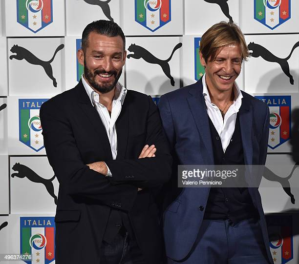 Gianluca Zambrotta and Massimo Ambrosini attend the launch of new Puma home kit at Palazzo Vecchio on November 9 2015 in Florence Italy