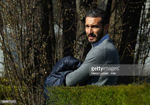 Gianluca Zambrotta looks on during FC Internazionale training session at the club's training ground on April 8 2015 in Appiano Gentile Como Italy