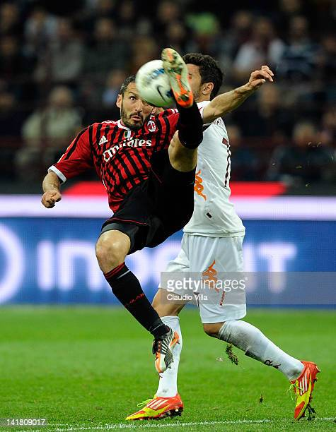 Gianluca Zambrotta of AC Milan in action during the Serie A match between AC Milan and AS Roma at Stadio Giuseppe Meazza on March 24 2012 in Milan...