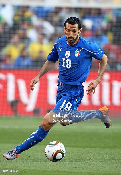 Gianluca Zambrotta of Italy in action during the 2010 FIFA World Cup South Africa Group F match between Slovakia and Italy at Ellis Park Stadium on...