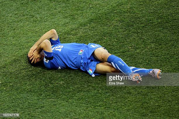 Gianluca Zambrotta of Italy reacts as he lies on the pitch during the 2010 FIFA World Cup South Africa Group F match between Italy and New Zealand at...