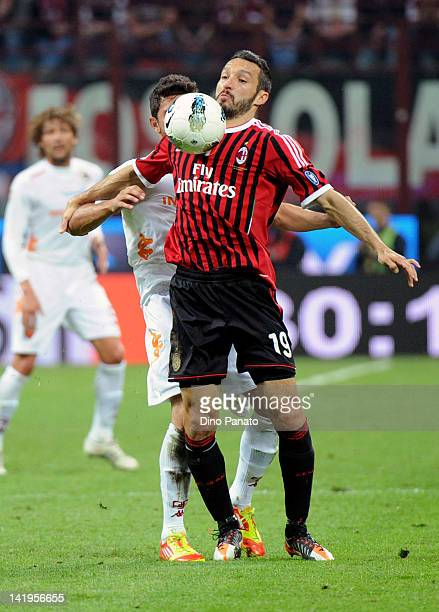 Gianluca Zambrotta of Milan controls the ball during the Serie A match between AC Milan and AS Roma at Stadio Giuseppe Meazza on March 24 2012 in...