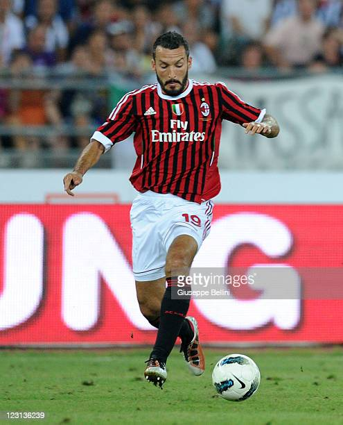 Gianluca Zambrotta of Milan in action during the match between FC Internazionale and AC Milan during the TIM preseason tournament at Stadio San...
