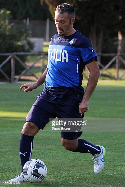 Gianluca Zambrotta of the Azzurri Stars in action during the training session at Acqua Acetosa sports center on August 31 2015 in Rome Italy