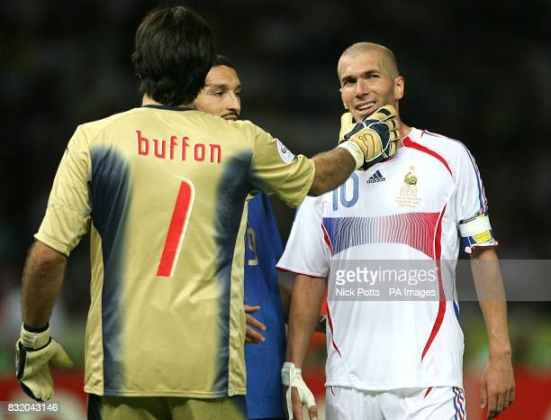 Gianluigi Buffon after saving a shot from Zinedine Zidane
