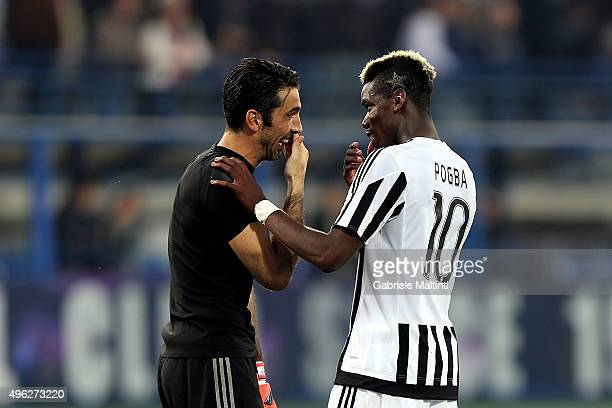 Gianluigi Buffon an d Paul Pogba of Juventus FC celebrates the victory after during the Serie A match between Empoli FC and Juventus FC at Stadio...
