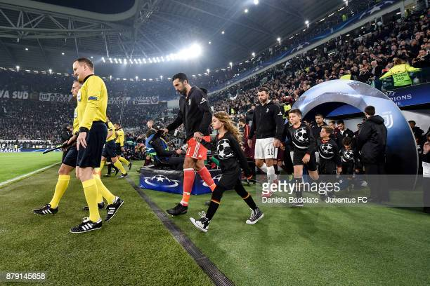 Gianluigi Buffon and Andrea Barzagli during the UEFA Champions League group D match between Juventus and FC Barcelona at Allianz Stadium on November...