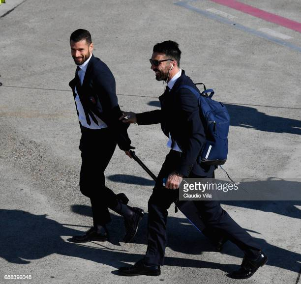 Gianluigi Buffon and Antonio Candreva of Italy depart for Amsterdam on March 27 2017 in Florence Italy