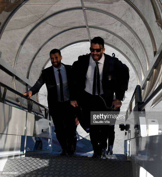 Gianluigi Buffon and Antonio Candreva of Italy departs for Amsterdam on March 27 2017 in Florence Italy