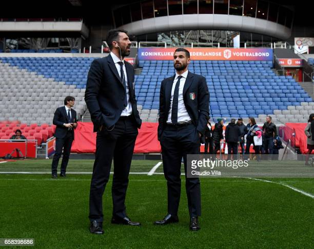 Gianluigi Buffon and Antonio Candreva of Italy during the walk about at Amsterdam Arena on March 27 2017 in Amsterdam Netherlands