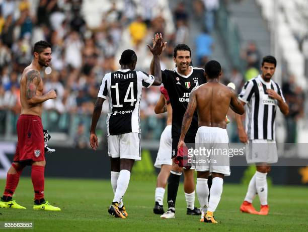 Gianluigi Buffon and Blaise Matuidi of Juventus FC celebrate at the end of the Serie A match between Juventus and Cagliari Calcio at Allianz Stadium...