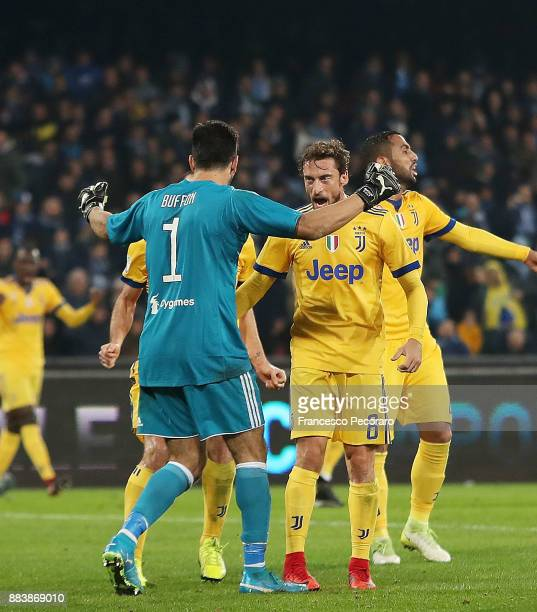 Gianluigi Buffon and Claudio Marchisio players of Juventus celebrate the victory after the Serie A match between SSC Napoli and Juventus at Stadio...