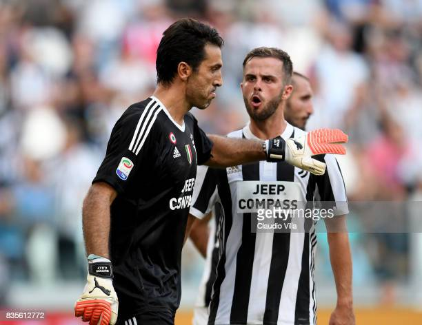 Gianluigi Buffon and Daniele Rugani of Juventus FC reacts during the Serie A match between Juventus and Cagliari Calcio at Allianz Stadium on August...