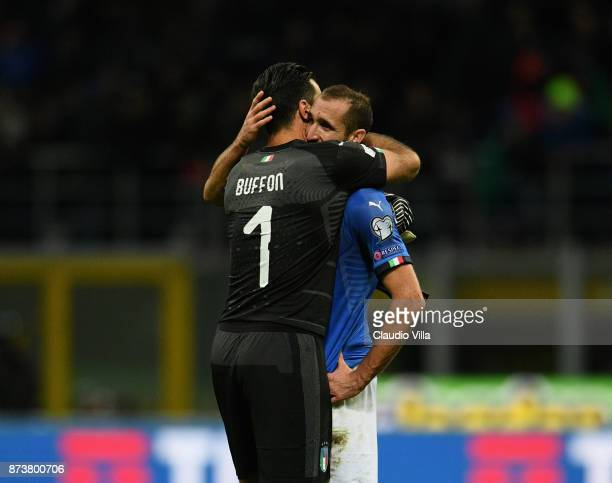 Gianluigi Buffon and Giorgio Chiellini of Italy dejected at the end of the FIFA 2018 World Cup Qualifier PlayOff Second Leg between Italy and Sweden...