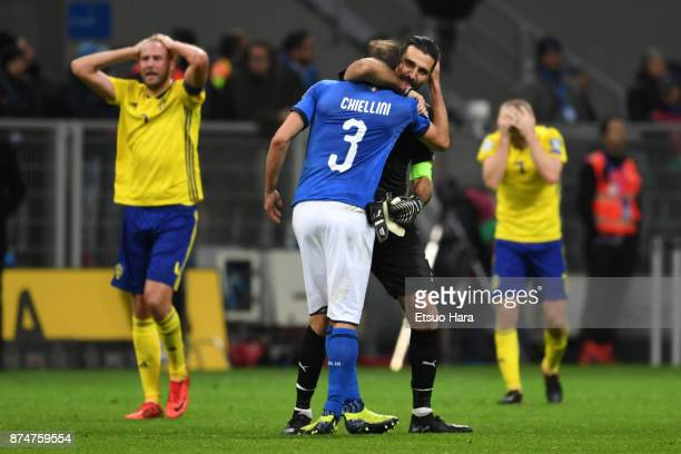 Gianluigi Buffon and Giorgio Chiellini of Italy show dejection after the FIFA 2018 World Cup Qualifier PlayOff Second Leg between Italy and Sweden at...