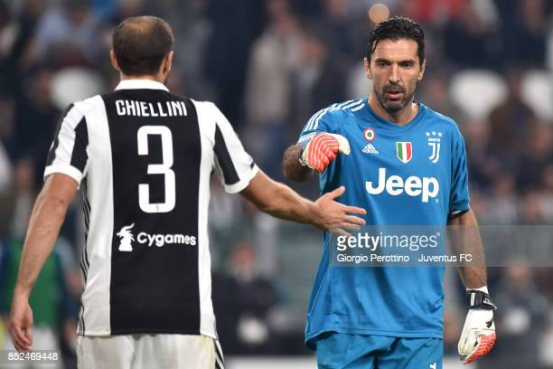 Gianluigi Buffon and Giorgio Chiellini of Juventus during the Serie A match between Juventus and Torino FC on September 23 2017 in Turin Italy