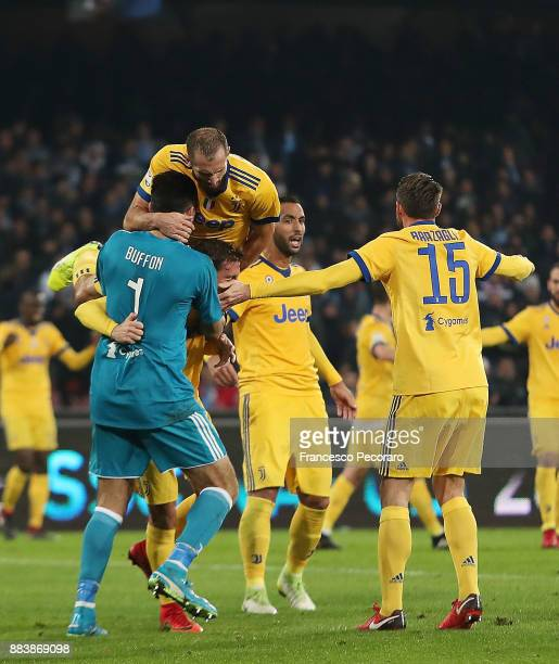 Gianluigi Buffon and Giorgio Chiellini players of Juventus celebrate the victory after the Serie A match between SSC Napoli and Juventus at Stadio...