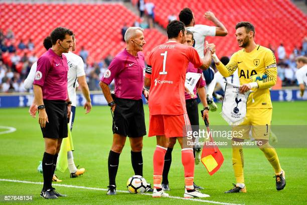 Gianluigi Buffon and Hugo Lloris during the Tottenham Hotspur v Juventus PreSeason Friendly match at Wembley Stadium on August 5 2017 in London...